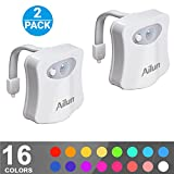 Toilet Night Light[2Pack] by Ailun,Motion Activated LED Light,16 Colors Changing Toilet Bowl Nightlight for Bathroom[Battery Not Included] Perfect decorating combination along with Water Faucet Light
