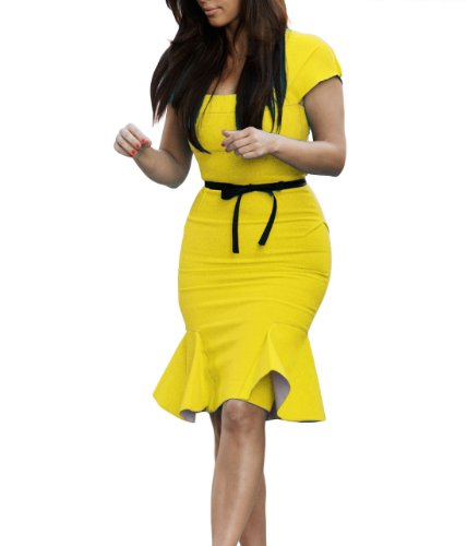 Miusol Women's Casual Peplum Bow-Knot Belt Fitted Bodycon Party Dress, Yellow, Large (Bow Peplum)