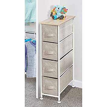 mDesign Narrow Vertical Dresser Storage Tower – Sturdy Frame, Wood Top, Easy Pull Fabric Bins – Organizer Unit for Bedroom, Hallway, Entryway, Closets – Textured Print, 4 Drawers – Light Tan White