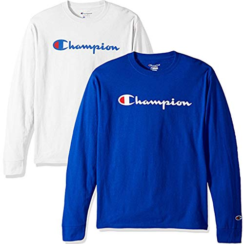 - Champion Men's Classic Jersey Script T-Shirt, Long Sleeve-2 Pack (Blue and White LS, Small)