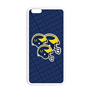 Generic Custom Best Design NCAA University of Michigan Wolverines Blue and Yellow Team Logo Plastic and TPU Case Cover for iPhone6 Plus 5.5