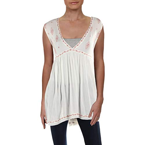 Blouse Woven Embroidered - Free People Womens Woven Embroidered Blouse Ivory L