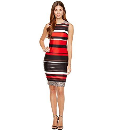 で出来ているピアースシチリア[カルバンクライン] Calvin Klein レディース Stripe Scuba Sheath Dress ドレス [並行輸入品]