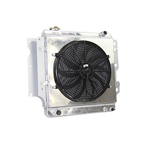 Primecooling Full Aluminum Radiator +Shroud Fan (16 Inches Dia.) Kits for Jeep Wrangler YJ/TJ L4/ L6 Engine 1987-06
