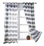 Cheap MEIYIMI 2 Packs Rugby Stripes Curtains Grommet Sheer Window Curtain Panel Window Treatment Draperies Grey W52×L84