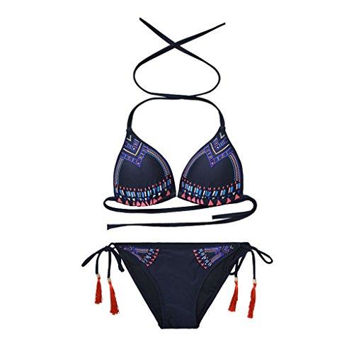 Sans Pièces Bikini Femme Kmgjc Monture Noir Maillot Bain Deux Sexy Triangle De n17CqF7
