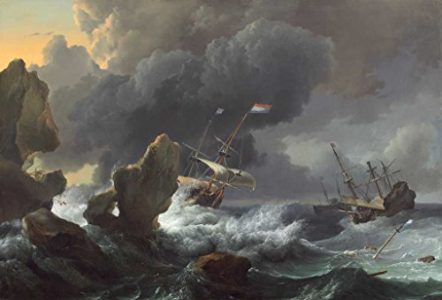 Fine Art Print   Ludolf Backhuysen   Ships in Distress off a Rocky Coast 1667   Vintage Wall Decor Poster Reproduction   44in x 30in
