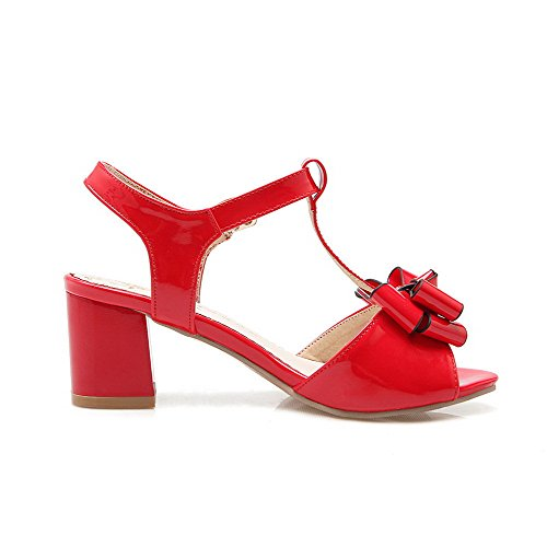 with Heels Bowknot Red AllhqFashion Kitten PU Sandals Toe Buckle Women's Solid Open CzqZzS