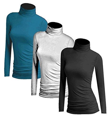 Muse 3x Damen Frauen Langarm Rollkragen - Rolli - Rollkragenshirt -  Turtleneck T Shirt - 3er 122d6a3dd5