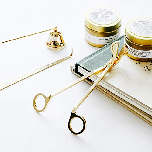 Acciaio oro stoppino trimmer forbici Wick Dipper Bell candela Snuffer kit di strumenti set di 3 grande regalo per gli amanti della candela e modo civile con interno a candela Tai Yuan Yi Zhuo