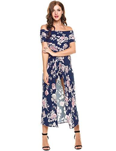 Meaneor Women Floral Off Shoulder Beach High Lo Split Maxi Romper Jumpsuit Dress (L, Navy Blue1)