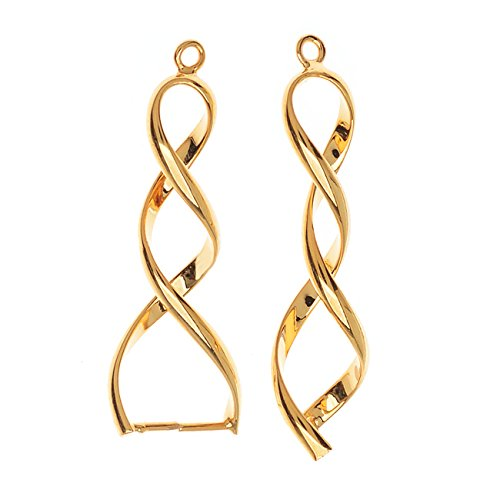 Beadaholique Pinch Bail for Pendants, Double Twist, 35mm, 2 Pieces, Gold Plated