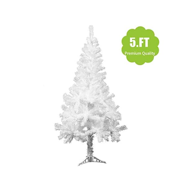 JAXPETY-New-Artificial-Christmas-Tree-Unlit-with-Solid-Stand-Holiday-Festival-Decor-White