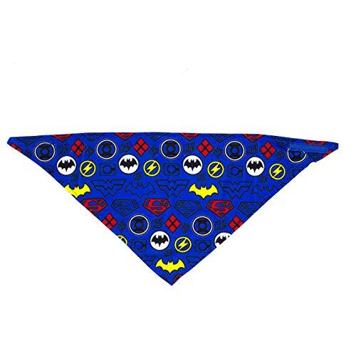 DC Comics Dog Bandana   Characters Logo Repeated Pattern  Super Adorable Superhero Scarf for Pets   Large