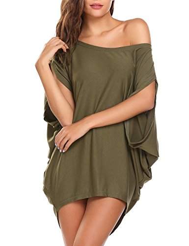 SoTeer Women's Off Shoulder T Shirts Blouse Loose Casual Short Sleeve Batwing Tunic Tops,Army ()