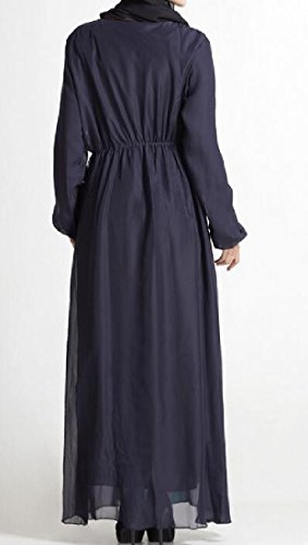 Bohemian Coolred Abaya Sleeve Longline Blue Muslim Women Dress Purplish Long qqO7wv