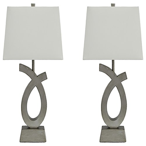 - Ashley Furniture Signature Design - Amayeta Table Lamps - Set of 2 - Artistic Base -  Silver Finish