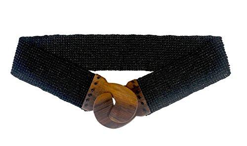 Nesha Beaded Stretch Belt with Wood Buckle Jet Black - Black Beaded Belt