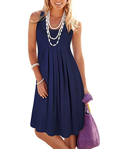 (KILIG Women's Summer Casual Loose Pleated Solid Color Sleeveless Vest Dresses(Navy_2,S))