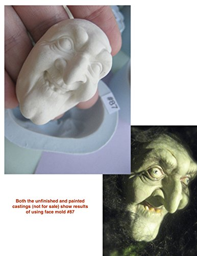 #0087 - Flexible FG Silicone Press Mold of a Doll Face Cab (witch, -