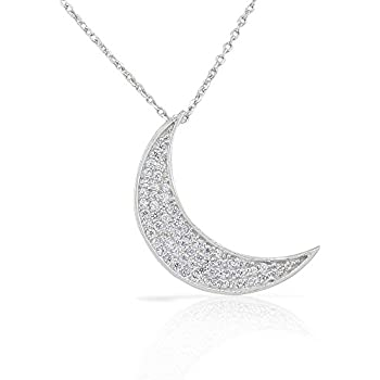 Amazon 925 sterling silver white cz womens crescent half moon 925 sterling silver white cz womens crescent half moon pendant necklace aloadofball Images