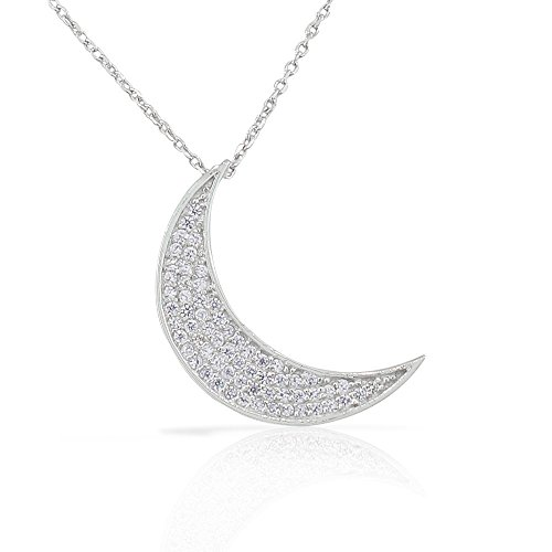 925 Sterling Silver White CZ Womens Crescent Half-Moon Pendant Necklace