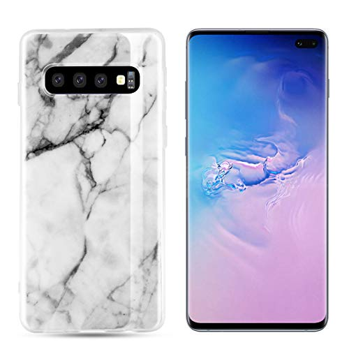 Orzero Silicone Soft Rubber TPU Case Compatible for Samsung Galaxy S10 Plus Full Body Shock Absorbing Anti-Scratch Heavy Duty Protection -Marble Veins (White)