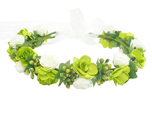 DIY Bohemian Paper Flowers Crown Flower Girl Hair Garland Accessories Bridesmaids Headpiece Hairband Floral Halo for Wedding Dance Headwear Green and White -
