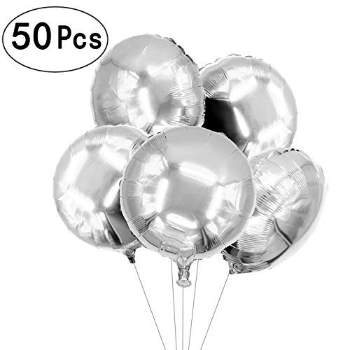 (18 inch Twinkle Silver Round Foil Mylar Balloons Helium Balloons Wedding Favors Baby Shower Birthday Graduation Party Decorations, 50 PC)