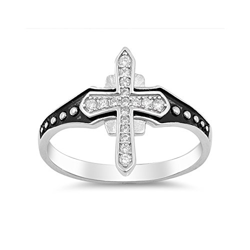 .925 Sterling Silver Cubic Zirconia Cross Ring for Men ()