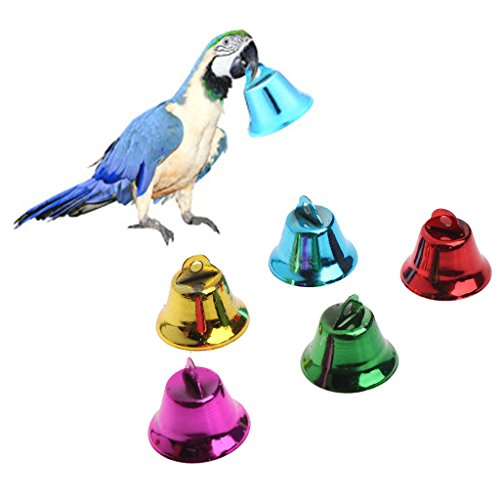 (Abicial 10PCS Multi-Color Pet Bird Bells Wind Chimes for Parrot Toy DIY Stainless Steel)