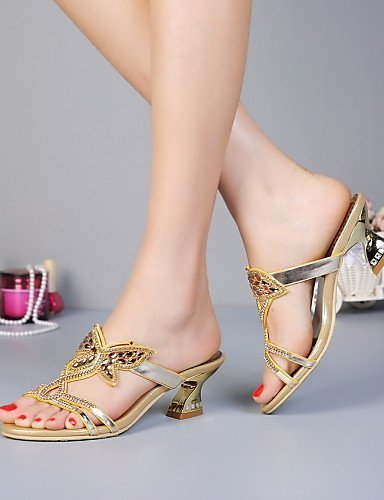 ShangYi Womens Shoes Leather Chunky Heel Heels Sandals / Slippers Party & Evening / Dress / Casual Gold golden