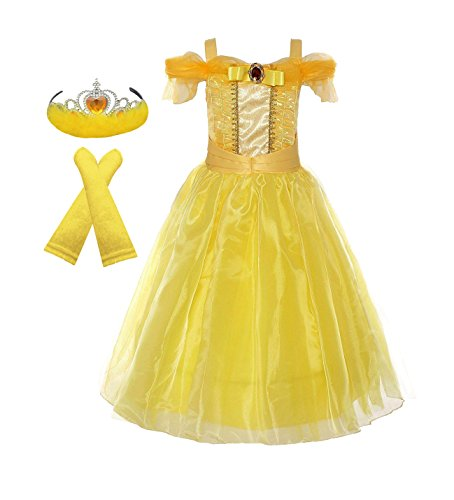 American Vogue Girls Princess Belle Dress up Costume & Accessory Play-Set (5-6 Years, Golden Yellow) -