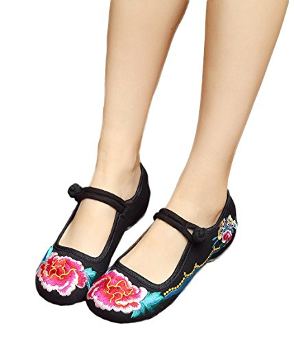 Shoes Rubber Black Womens Sole Jane Flats Red Casual Mary Embroidery AvaCostume xqz4ITq