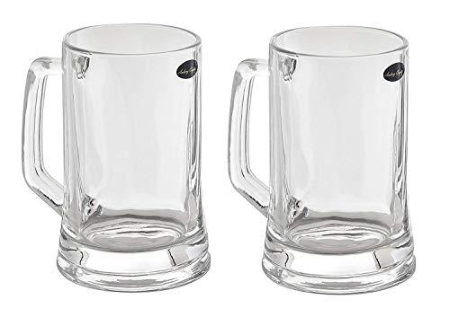 Amlong Crystal Lead Free Beer Mug - 12 oz (Right For 1 Bottle), Set of 2 ()