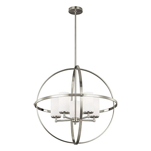 Sea Gull Lighting 3124605-962 Alturas Five-Light Chandelier with Etched White Inside Glass Shades, Brushed Nickel Finish