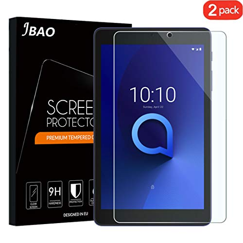 [2-Pack] Jbao Direct Alcatel 3t 8.0 Screen Protector, [Scratch Resistant][Anti-Fingerprint][Bubble Free][Ultra Clear]9H Hardness Tempered Glass for Alcatel 3T 8 Tablet (2018)
