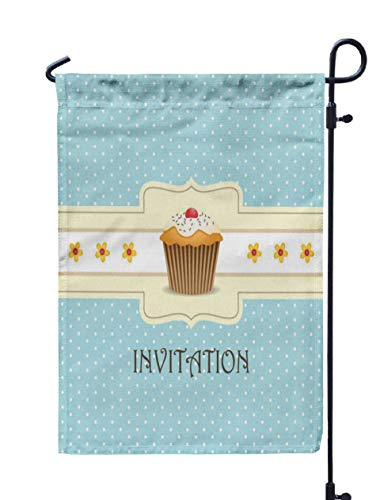GROOTEY Welcome Outdoor Garden Flag Home Yard Decorative 12X18 Inches Cupcake Invitation Background Double Sided Seasonal Garden Flags
