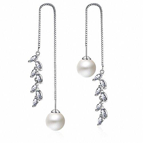 megko Women's Simulated Pearl Threader Earrings Silver Long Stud Earrings Leaf Earring (style4) ()