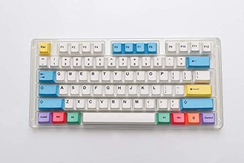 HK Gaming Dye Sublimation Keycaps - Cherry Profile - Teclas PBT gruesas para teclado mecánico (139 teclas, tiza)