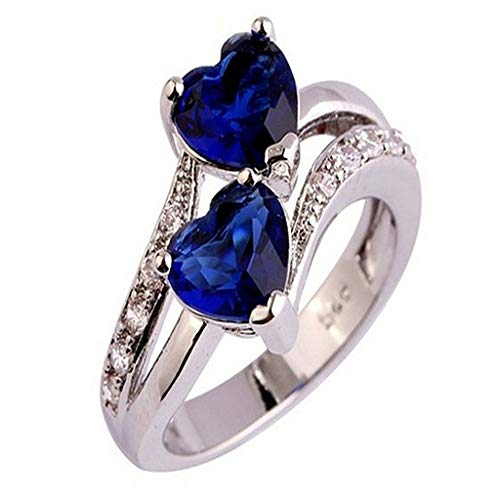 Aunimeifly Women's Simple Double Heart Cut Sapphire and Ruby Zircon Silver Ring Party Gift