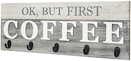 "Cafe 24/"" x 8.5/"" FM17L0467 Bar Display Barnyard Designs /'Ok Rack Rustic Farmhouse Wood Coffee Wall Decor Sign for Kitchen But First Coffee/' Mug Holder"