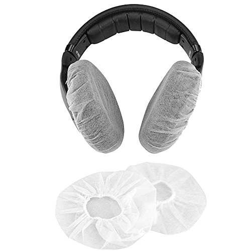 Headphone Ear Cover, Disposable Super Stretch Covers Germproof Deodorizing and Washable, for Most On Ear Headphones with 5~8cm Earpads (Pack of 100 (11cm) - Disposable Headphone Covers