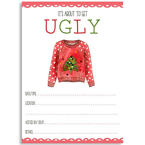 About to Be Ugly Invitations, Fill in The Blank Christmas Invitations, Ugly Christmas Sweater Party, Christmas Party Invitations, 24 Pack Fill in The Blank Christmas Invitations with White Envelopes -