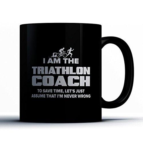 Triathlon Coach Coffee Mug - Triathlon Coach Is Never Wrong - Funny 11 oz Black Ceramic Tea Cup - Humorous and Cute Triathlon Coach Gifts with Coach - Triathlon British Team