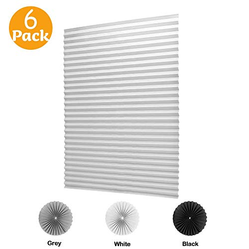 (LUCKUP 6 Pack Cordless Light Filtering Pleated Fabric Shade,Easy to Cut and Install, with 12 Clips (36