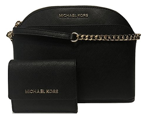MICHAEL Michael Kors Emmy MD Crossbody bundle with Michael Kors Jet Set Travel Card Case ID Key Holder Wallet (Black) by Michael Kors