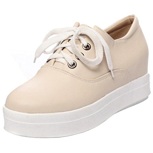 Up Beige Shoes Women's TAOFFEN Lace qXxwFTnCW