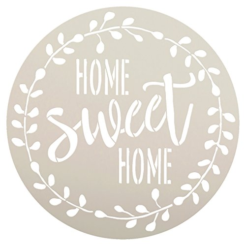 Home Sweet Home Stencil with Laurel Wreath by StudioR12 | Reusable Mylar Template for Painting Wood Signs | Round Design | DIY Home Decor Country Farmhouse Style | Mixed Media | Select Size (12