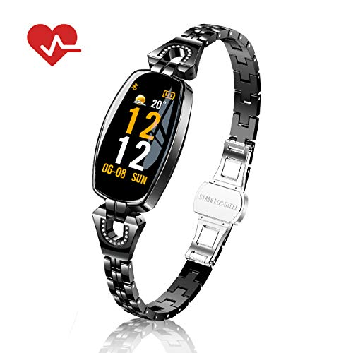 Fitness Tracker Watch Waterproof for Women with Blood Pressure Monitor, TOP-MAX Heart Rate Monitor Activity Tracker Watch,Smart Wristband Watch with Calorie Counter,Pedometer, Sleep Monitor,Black
